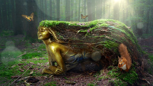 Fantasy, Forest, Woman, Mythical Creatures, Golden