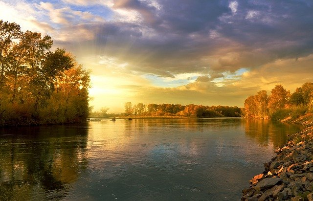 Autumn, Landscape, Nature, Golden, September, River