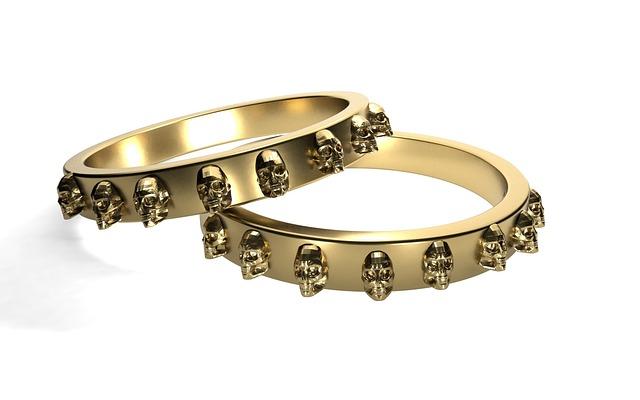 Rings, Gold, Skull And Crossbones, Golden Ring