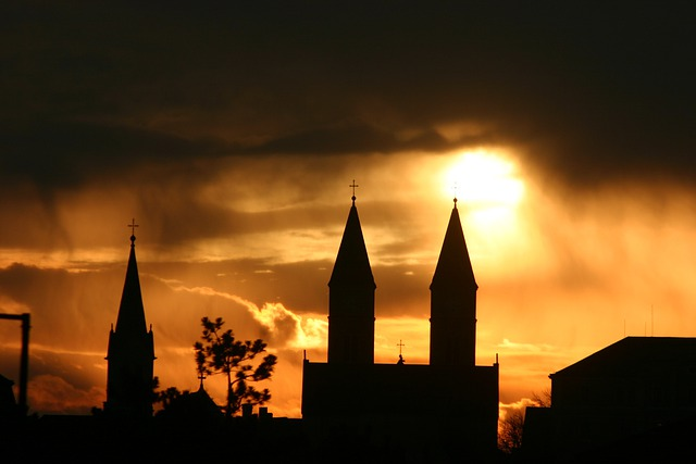 Church, Steeple, Religion, Silhouette, Golden, Sky
