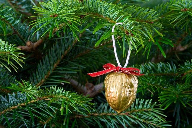 Christmas, Xmas, Tree, Needles, Green, Gold, Golden