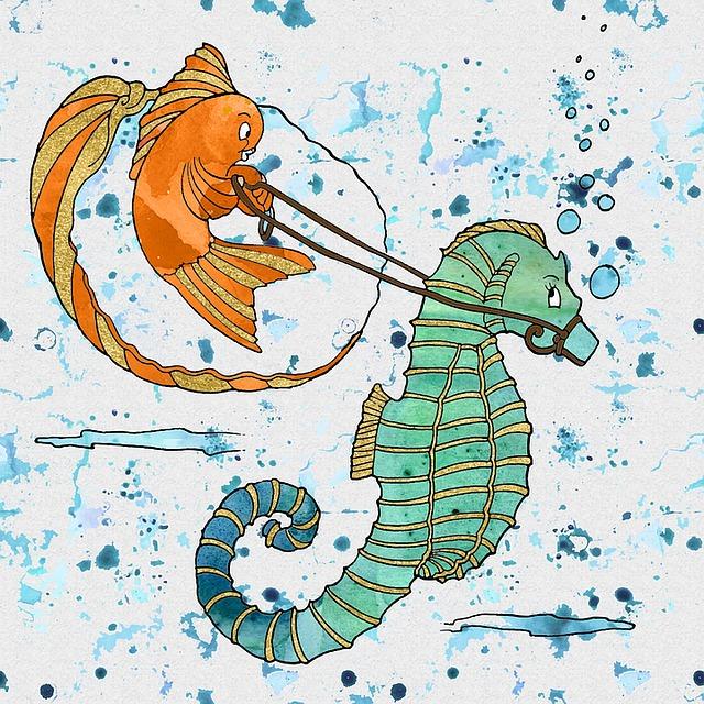 Goldfish, Seahorse, Underwater, Watercolor, Sea, Ocean