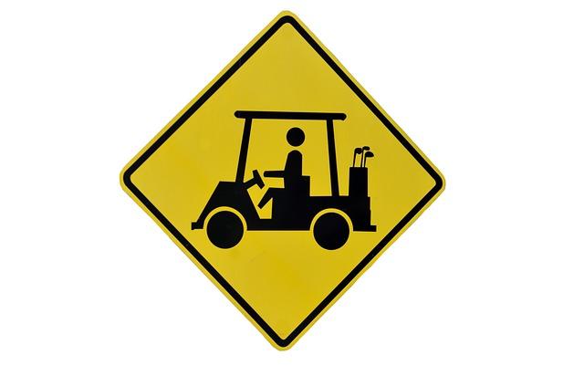 Traffic, Warning, Sign, Danger, Golf Cart, Crossing