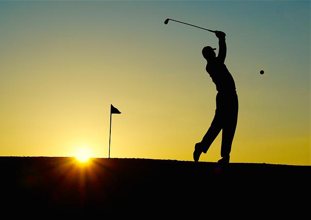 Golf, Sunset, Sport, Golfer, Golf Clubs, Einlochfahne