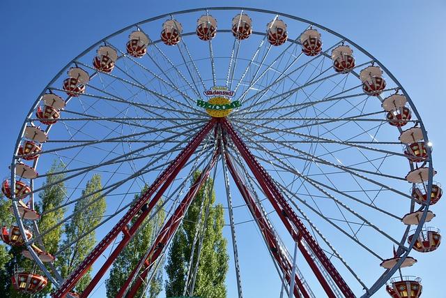 Ferris Wheel, Gondolas, Fair, Hustle And Bustle
