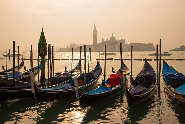 Venice, Gondolas, Sunrise, Water, Boat, Italy