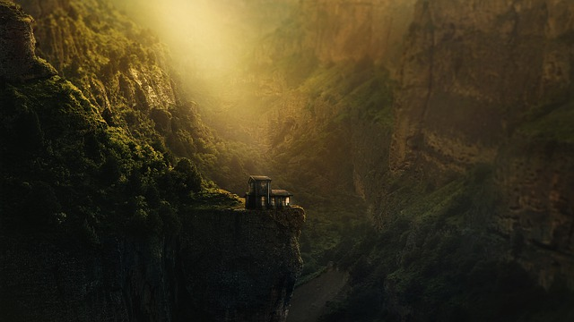 Canyon, Gorge, Church, Abyss, Trees, Rock, Woodhouse