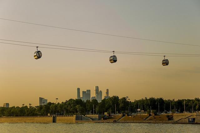 Cable Car, Moscow, Luzhniki Stadium, Gory, Moscow City