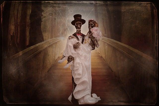 Gothic, Bride And Groom, Skeleton, Weird, Wedding