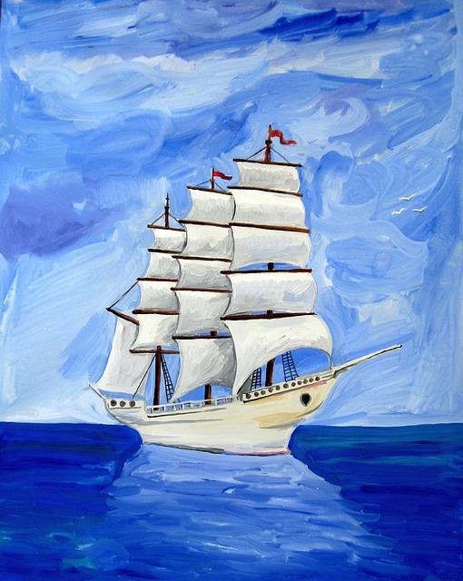 Astronira, Sea, Sailing, Ship, Gouache, Paints, Picture