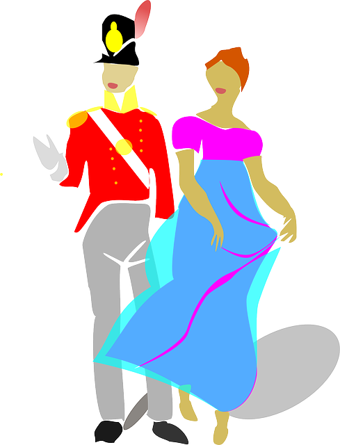 Couple, Man, Woman, Costume, Drama, Dress, Gown