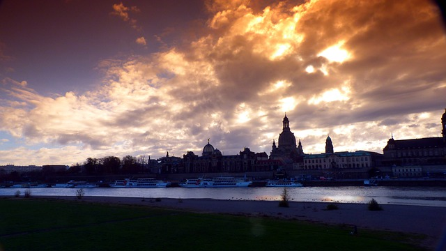 Dresden, Panorama, Back Light, Gradient Filter, Elbe
