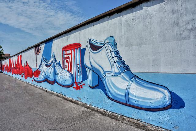 Red, Shoes, Street, Art, Graffiti, Verona, Italy