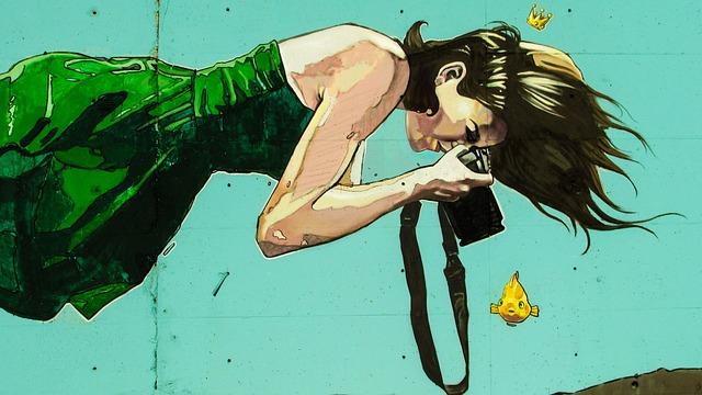Graffiti, Colorful, Woman, Photographer, Floating