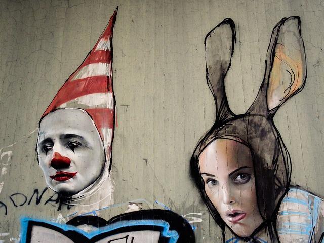 Graffiti, Clown, Hare, Man, Woman, Face, Faces, Figures