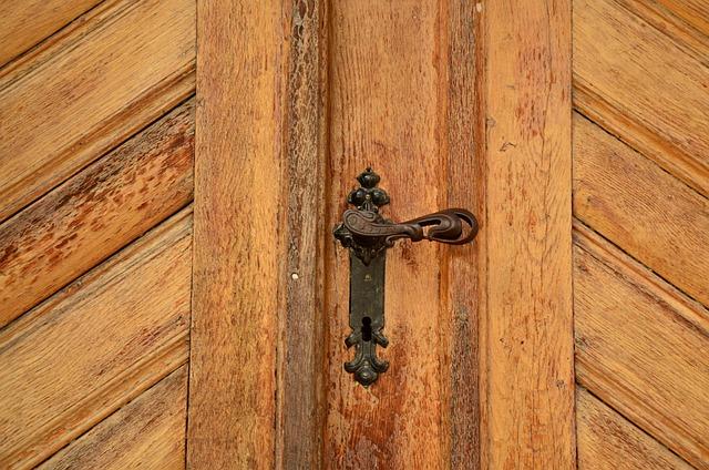 Door, Door Knob, Wood, Grain, Structure, Input, Old