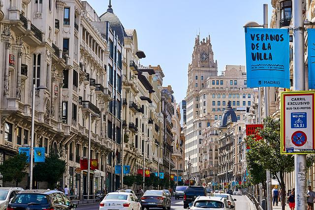 Spain, Madrid, Gran Via, Capital, Road, Architecture