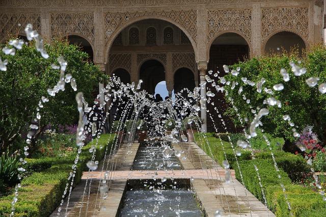 Alhambra, Source, Andalusia, Granada, Water, Patio