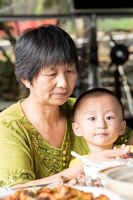 Grandparents, Asian Grandma, Grandson