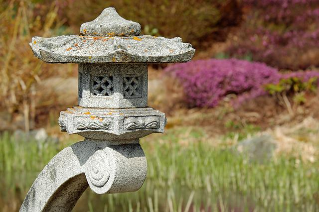 Japanese Lamp, Stone Lamp, Granite, Asian Culture