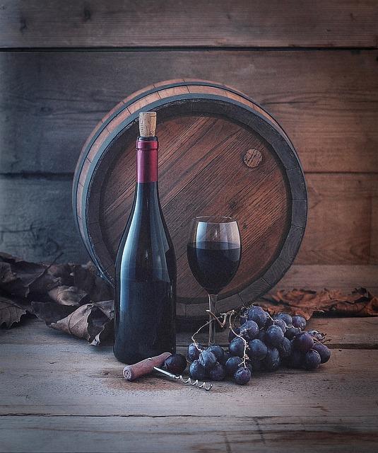 Wine Barrel, Grapes, Glass, Wine Bottle