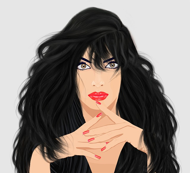 Graphic Design, Lady, Long Black Hair, Brown Eyes