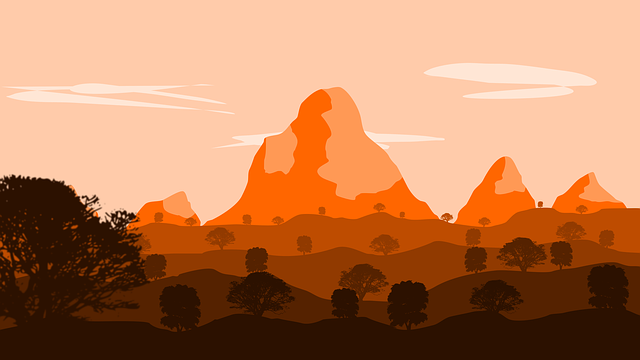 Landscape, Orange, Drawing, Graphic, Flat