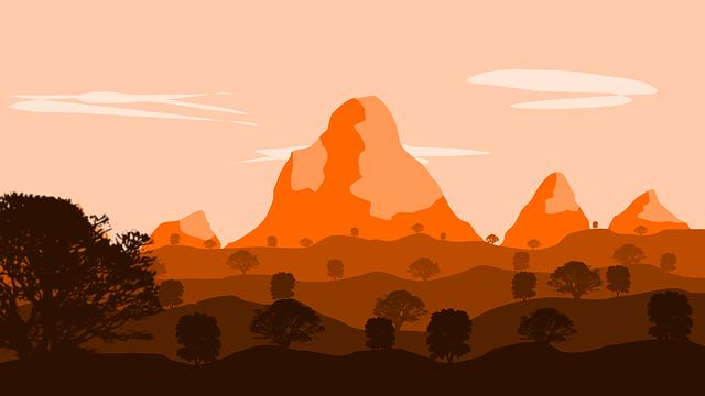 Landscape, Orange, Drawing, Graphic, Flat