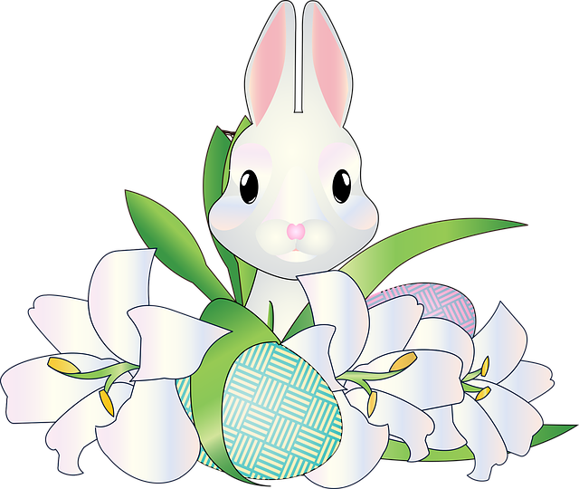 Graphic, White Bunny, Easter, Easter Lilies, Lilies