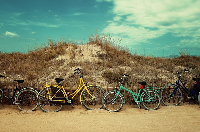 Bicycles, Bikes, Fence, Grass, Nature, Outdoors, Sand
