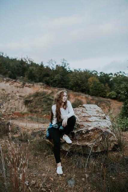 Beautiful, Boulder, Girl, Grass, Landscape, Outdoors