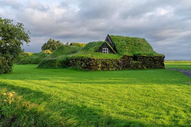 House, Green, Grass, Iceland, Village, Landscape