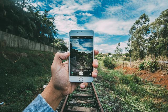 Grass, Hand, Iphone, Mobile Phone, Outdoors, Railroad