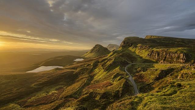 Mountains, Dawn, Dusk, Grass, Hills, Winding Road