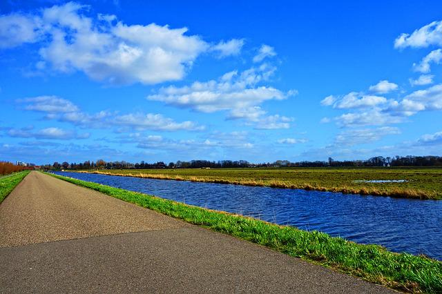 Water, Canal, Road, Grass, Polder, Dutch