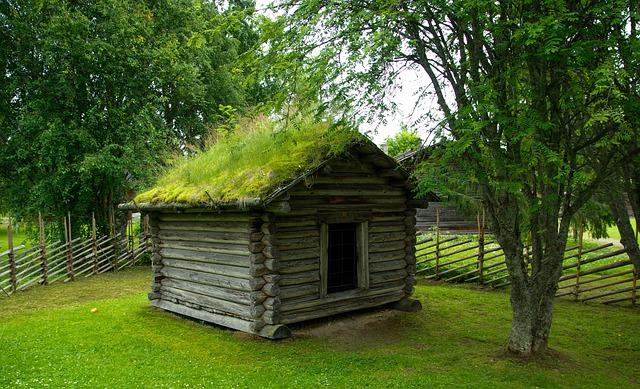 Finland, Cabin, Grass Roof, Closing, Chalet