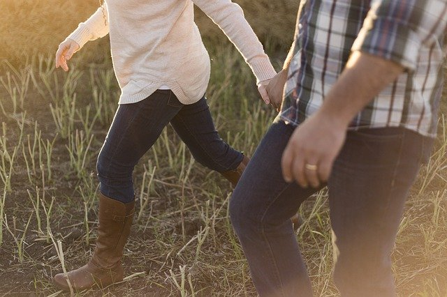 Adult, Couple, Walking, Boots, Countryside, Girl, Grass