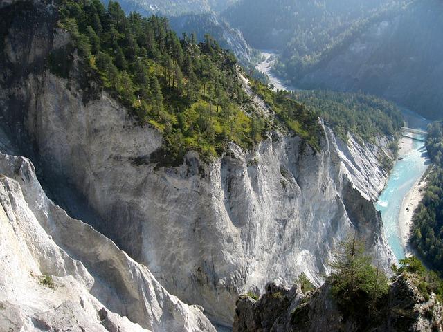Rhine Gorge, Switzerland, Graubünden, Mountains, Rock