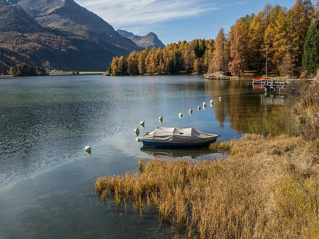 Lake Sils, Graubünden, Switzerland, Autumn, Waters