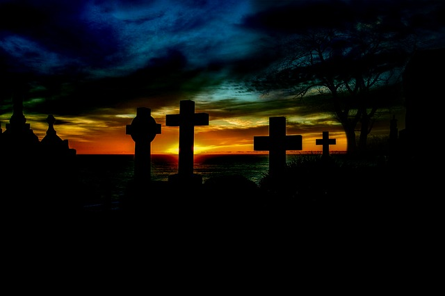 Sunrise, Cemetery, Cross, Graves, Grave Stones, Editing