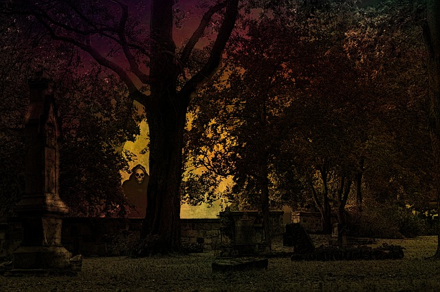 Halloween, Cemetery, Weird, Creepy, Horror, Graves