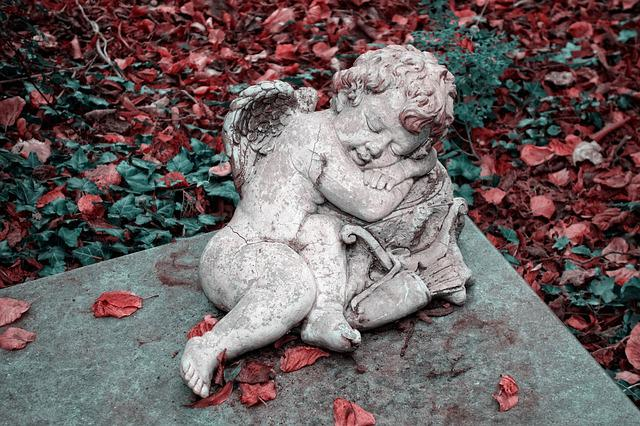 Angel, Cherub, Sculpture, Tombstone, Graveyard