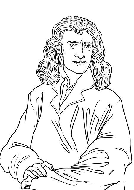 Newton, Isaac Newton, Drawing, Gravity, Inventor