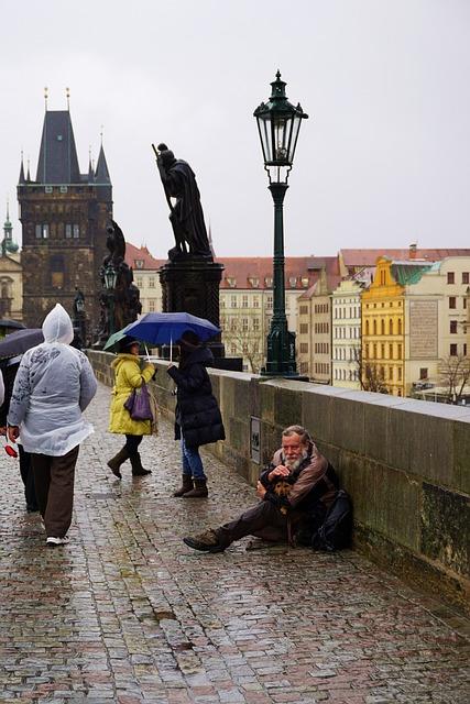Prague, Bridge Carlo, Rain, Bad Weather, Gray, Bridges