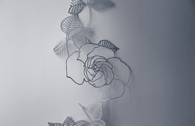 White, Wall, Flower, Decoration, Drawing, Gray Wall