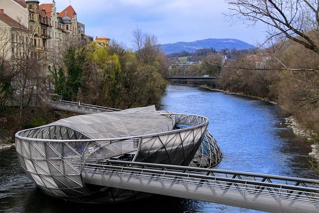 Murinsel, Metal, Mur, Architecture, Graz, River, Bridge