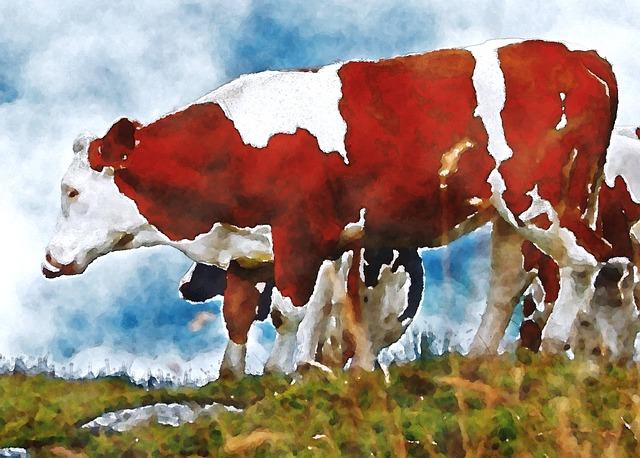 Cow, Cattle, Grazing, Watercolor, Oekaki, Pet, Animal