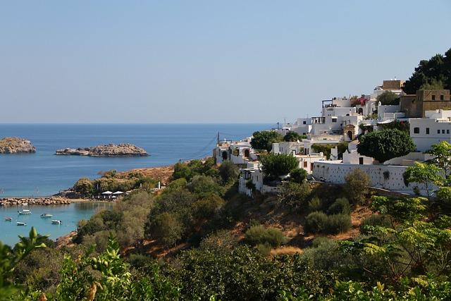 Lindos, Rhodes, Greece, Bay, Port, Houses, City