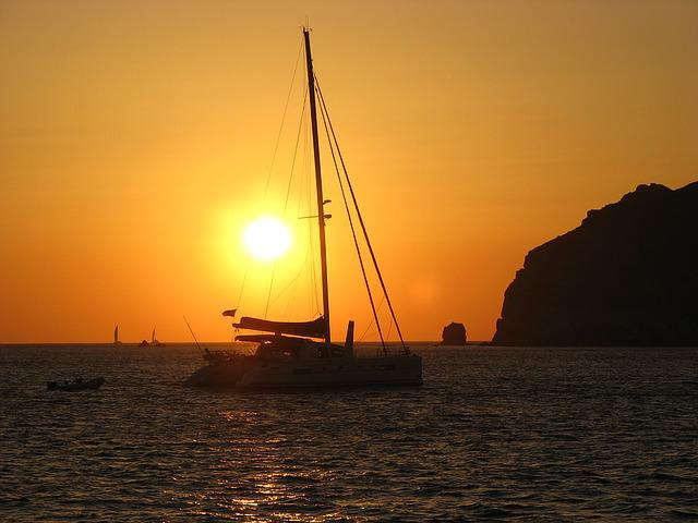 Boat, Catamaran, Sunset, Greece, Santorini