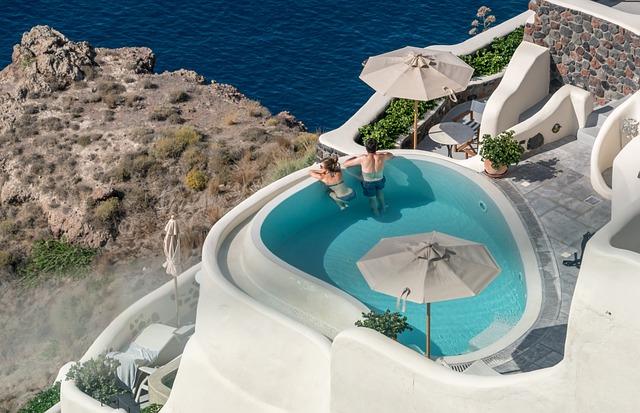 Santorini, Oia, Greece, People, Person, Pool, Leisure